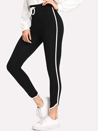 Drawstring Waist Binding Detail Leggings
