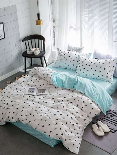 1.8m 4Pcs Triangle Print Bedding Set