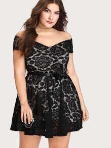 Ribbon Tie Waist Lace Dress