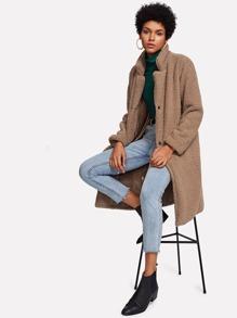 Faux Shearling Longline Coat
