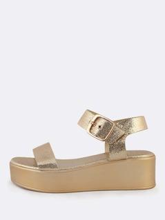Metallic Crinkle Platform Sandals GOLD