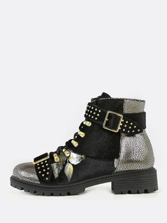 Lace Up Utility Boots with Gold Accents BLACK