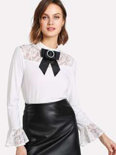 Bow Embellished Lace Yoke And Cuff Top