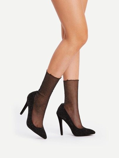 Pointed Toe Sock Panel Heels
