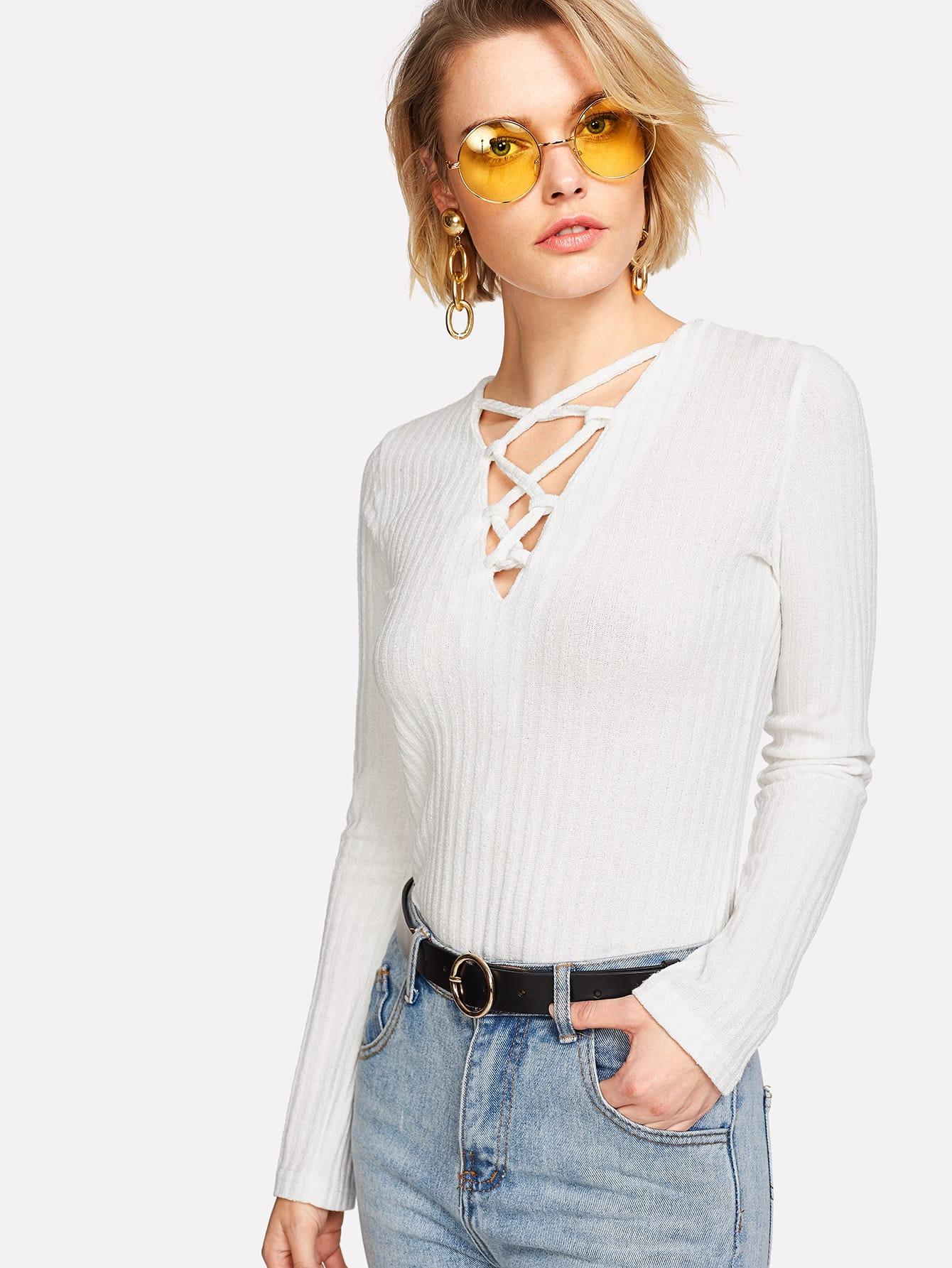 Criss Cross Detail Knit Tee pearls beaded detail knit tee