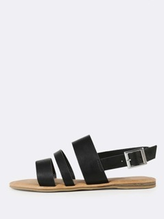 Three Strap Slingback Sandals BLACK