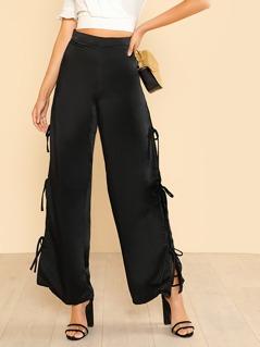 Side Tie Up Pants BLACK