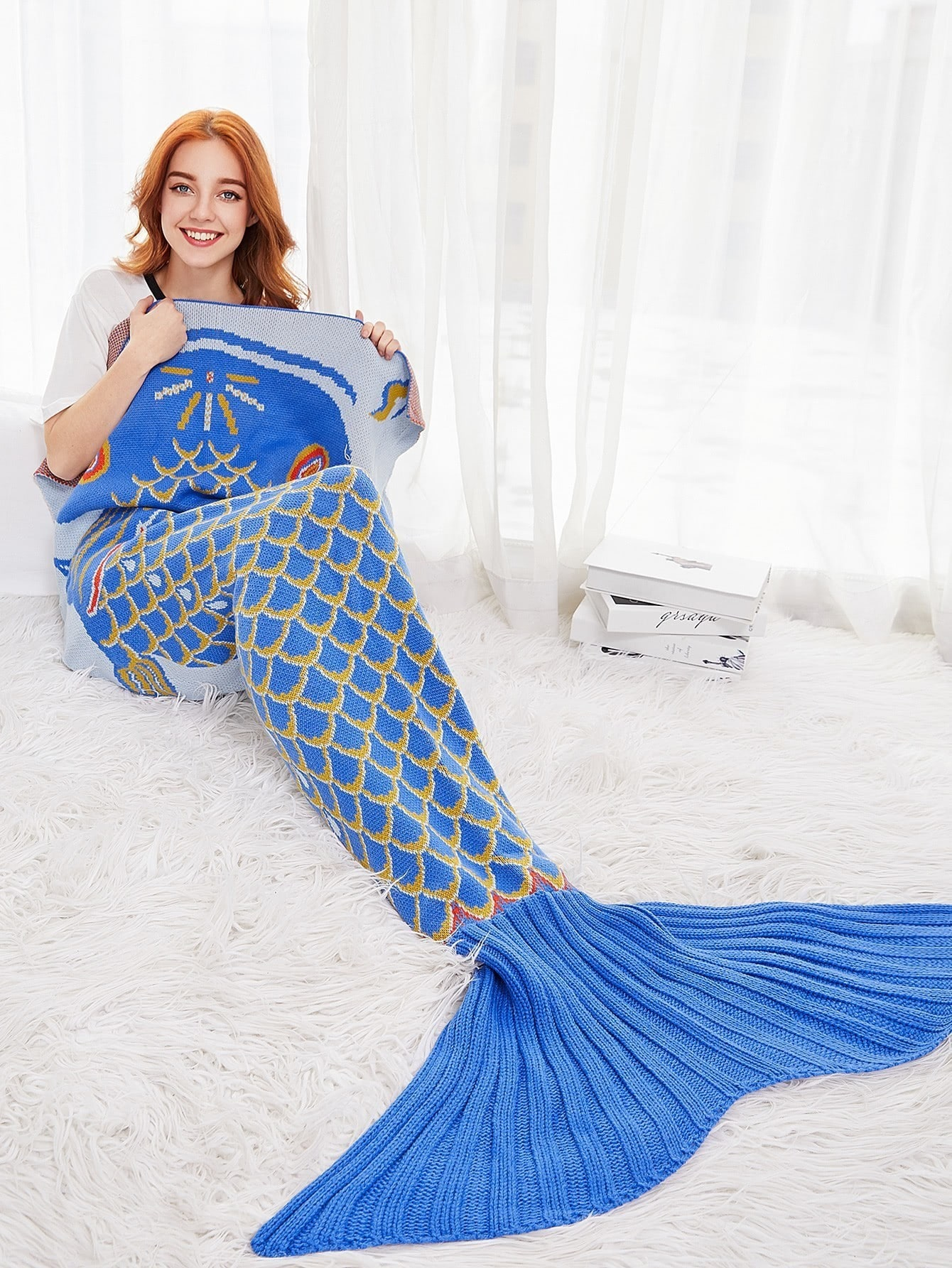 Fish Scale Design Fish Tail Mermaid Blanket