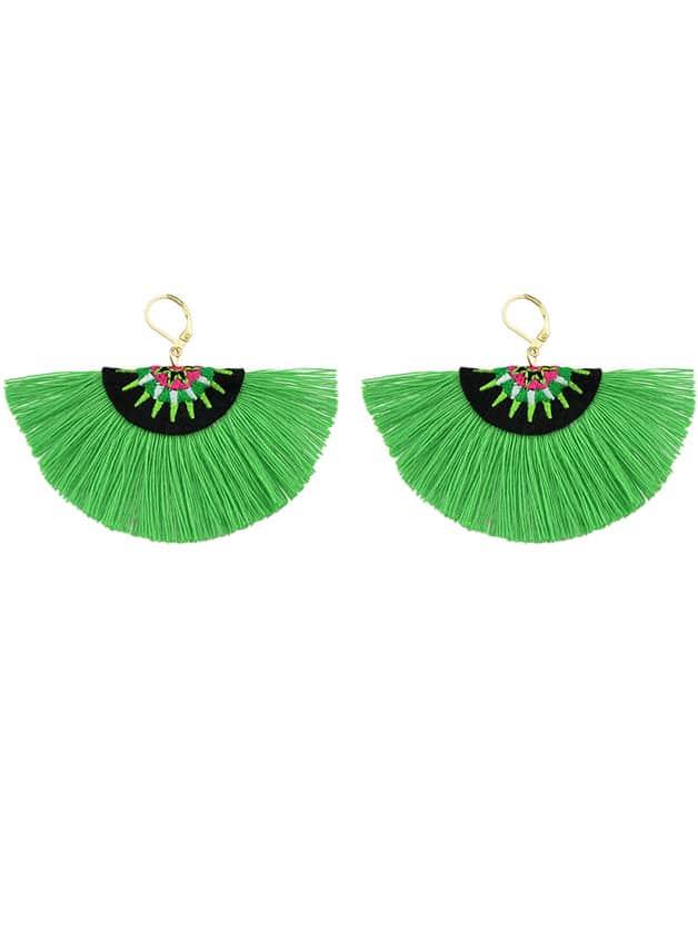 Green Handmade Ethnic Jewelry Boho Style Fan Shaped Earrings rhinestone feather fan shaped boho jewelry earrings