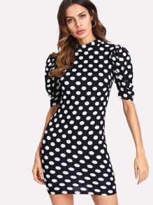Puff Sleeve Ruched Detail Polka Dot Dress