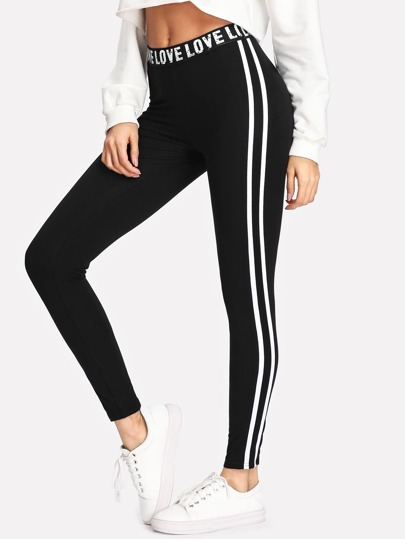 Letter Print Waist Striped Side Leggings