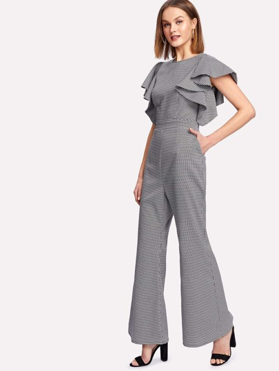 Symmetrical Flounce Shoulder Flare Hem Gingham Jumpsuit