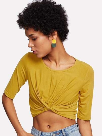 Twist Hem Solid Crop Tee