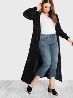 Button Up Front Longline Velvet Coat