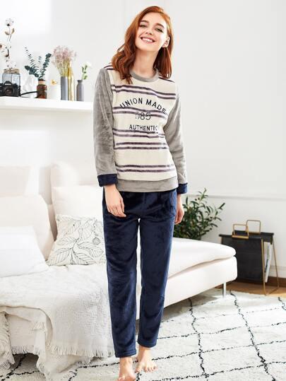 Letter Embroidered Striped Plush Pullover & Pants Pj Set