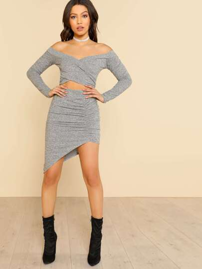 Front Overlay Long Sleeve Crop & Matching Skirt Set GREY