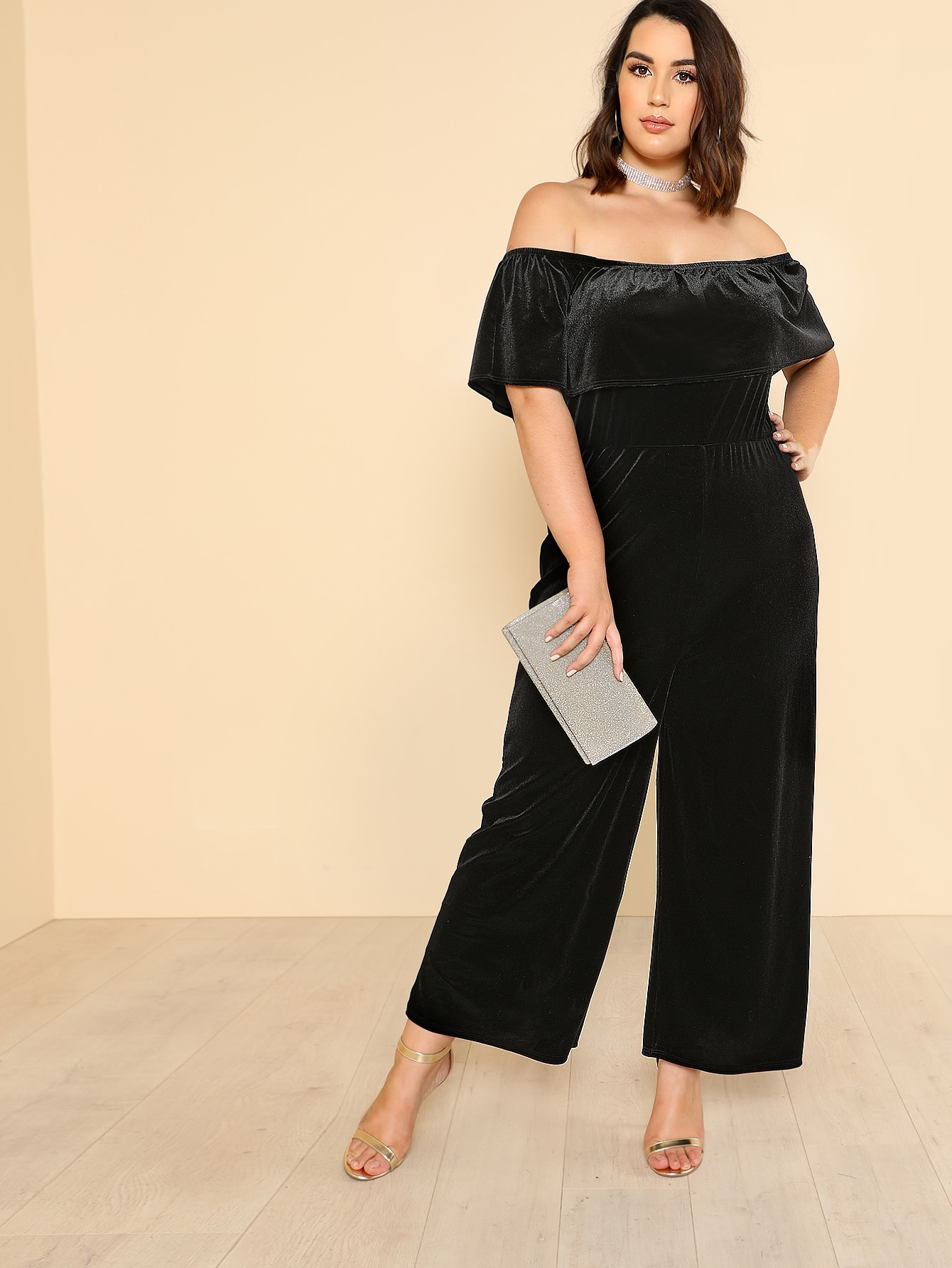 Flounce Off Shoulder Wide Leg Velvet Jumpsuit tropical print flounce off shoulder wide leg jumpsuit