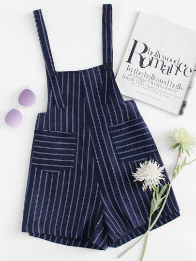 Dual Pocket Button Detail Striped Jumpsuit