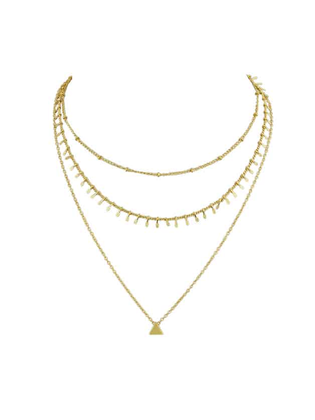 Gold Multi Layers Chain Necklace With Tassel