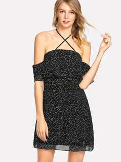 Open Shoulder Crisscross Front Dot Dress