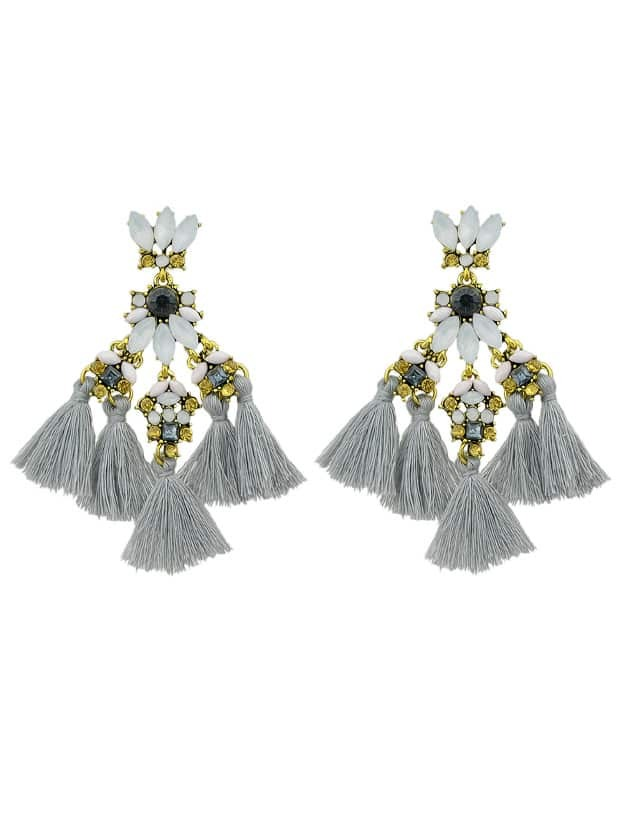 Gray Rhinestone And Colorful Tassel Big Geometric Chandeliers Earrings