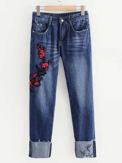 Embroidered Flower Turn Up Jeans