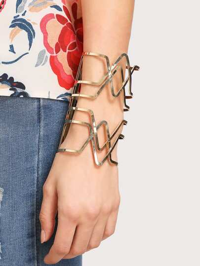 Hollow Geometric Design Cuff Bracelet