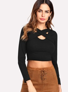 Criss Cross Detail Crop Tee