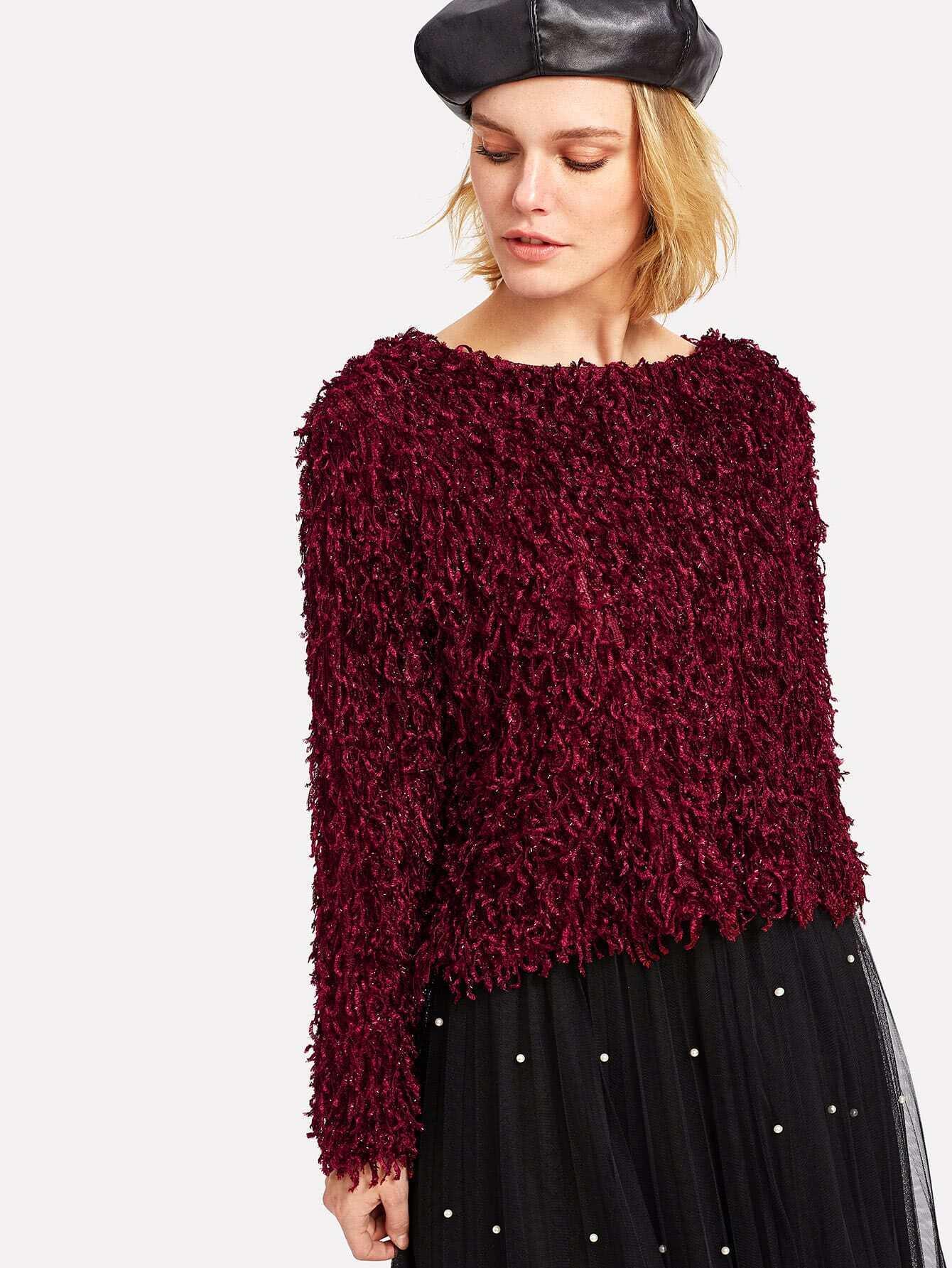 Drop Shoulder Solid Fuzzy Blouse two tone drop shoulder sweatshirt