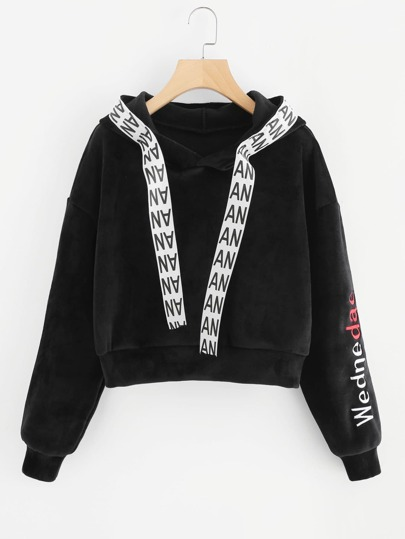 Letter Tape Detail Embroidered Crop Hoodie