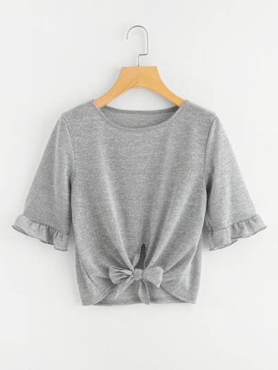 Frill Trim Self Tie Tee