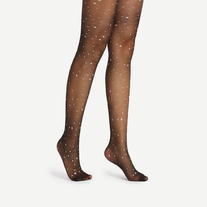 Star Pattern Sheer Mesh Pantyhose Stockings, Black