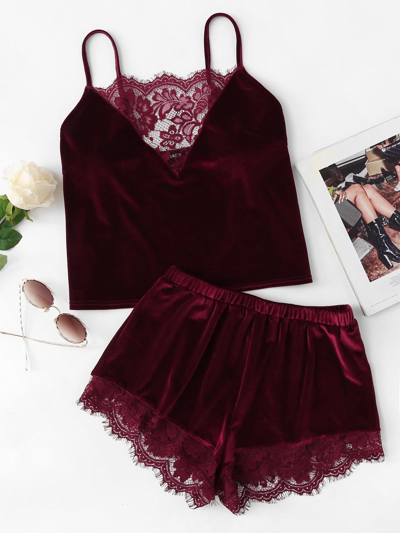 Купить Модная бархатная пижама с кружевной вставкой, null, SheIn