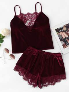 Lace Trim Velvet Cami & Shorts PJ Set
