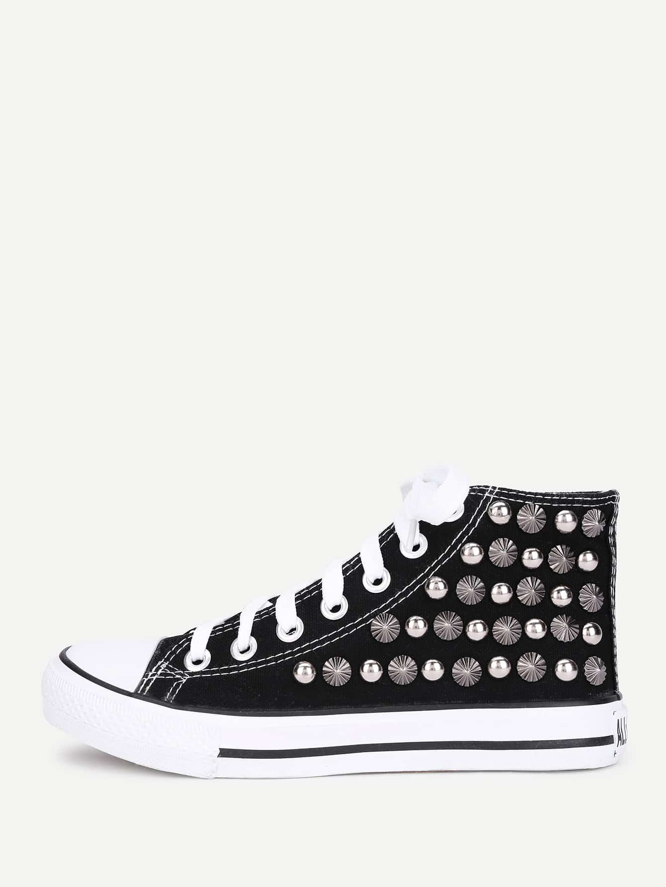 Studded Detail High Top Sneakers