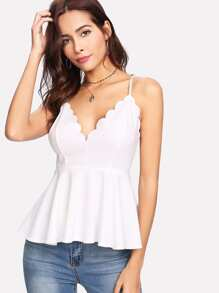 Crisscross Back Scalloped Peplum Cami Top