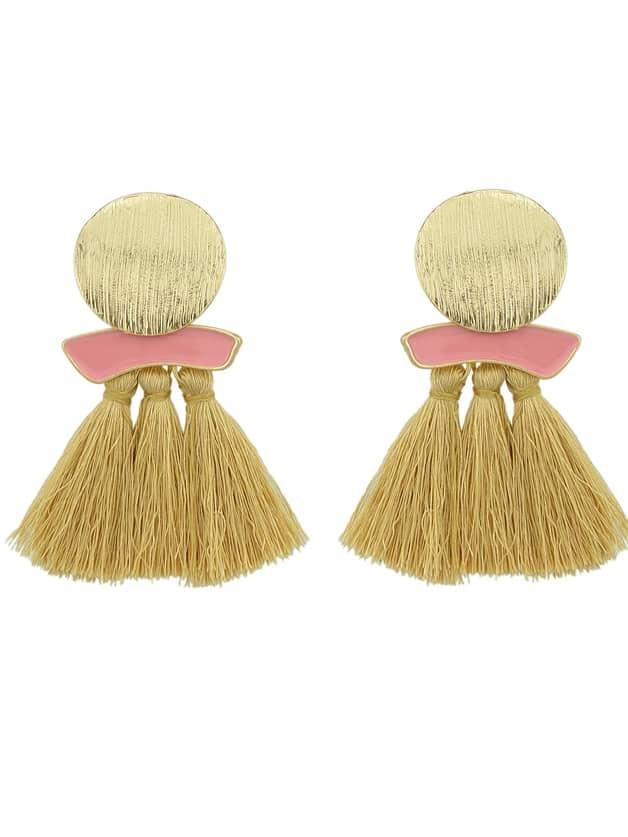 Beige Boho Earrings Round Metal With Colorful Handmade Tassel Drop Earrings two tone metal drop earrings