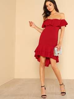 Off-Shoulder Flounce Hem Dress RED