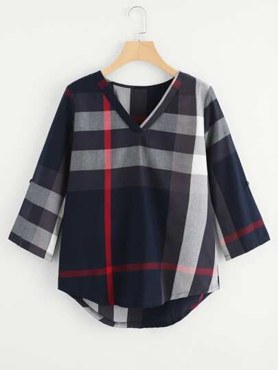 High Low Curved Hem Plaid Blouse