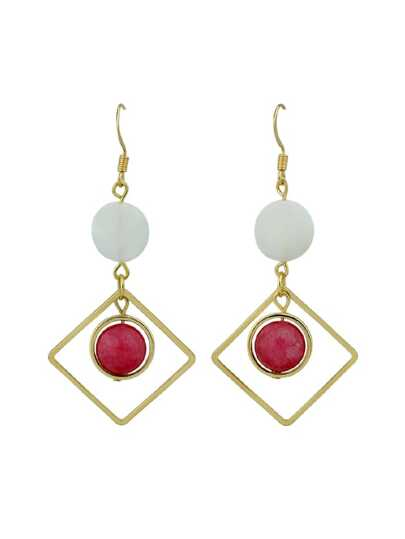 Shell Red Beads Square Geometric Drop Earrings
