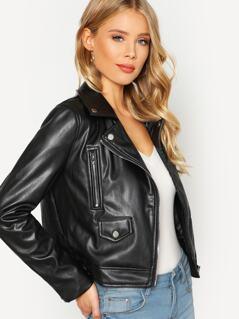 Zip Cuff Faux Leather Biker Jacket