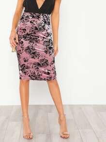 Slit Back Floral Velvet Skirt