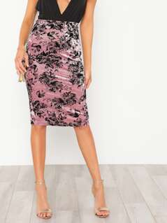 Slit Back Floral Velvet Skirt