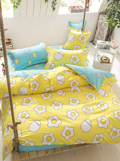 2.0m 4Pcs Poached Egg Print Duvet Cover Set