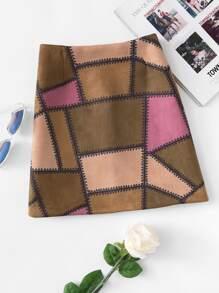Color Block Zip Up Back Skirt