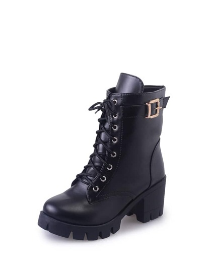 Lace Up Buckle Detail Lug Sole Boots