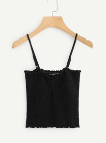 Frilled Detail Shirred Cami Top