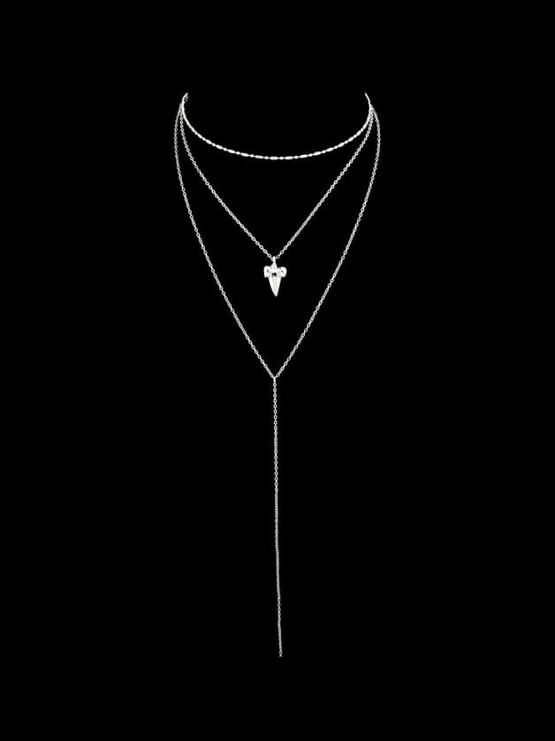 Silver Multi Layers Chain With Geometric Leaf Shape Charm Necklace silver multi layers chain with leaf shape charm bracelets