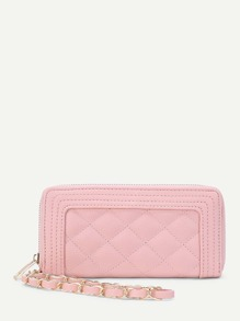 Quilted PU Wallet With Chain Strap