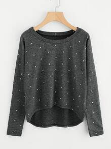 Dotted Elbow Patch Dip Hem Slub Tee